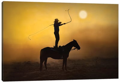 Whip Cracking Jillaroo Canvas Art Print