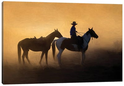 Jillaroo And Her Horses Canvas Art Print