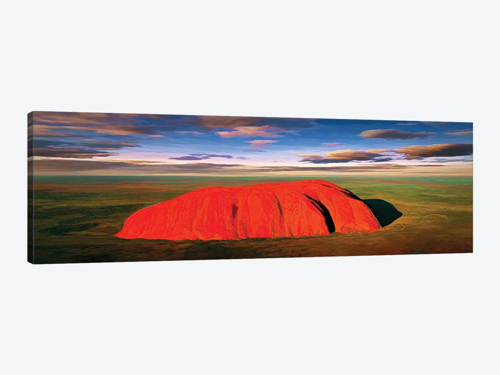 Ayers Rock Aerial Pano by Peter Walton 1-piece Canvas Print