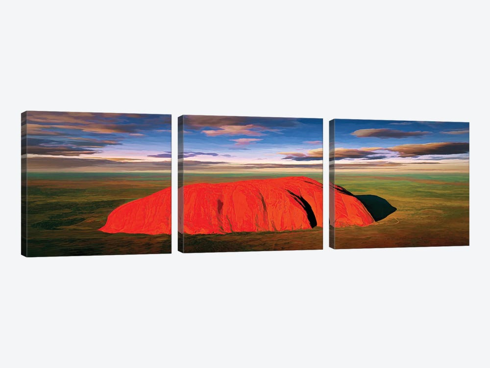 Ayers Rock Aerial Pano by Peter Walton 3-piece Canvas Print