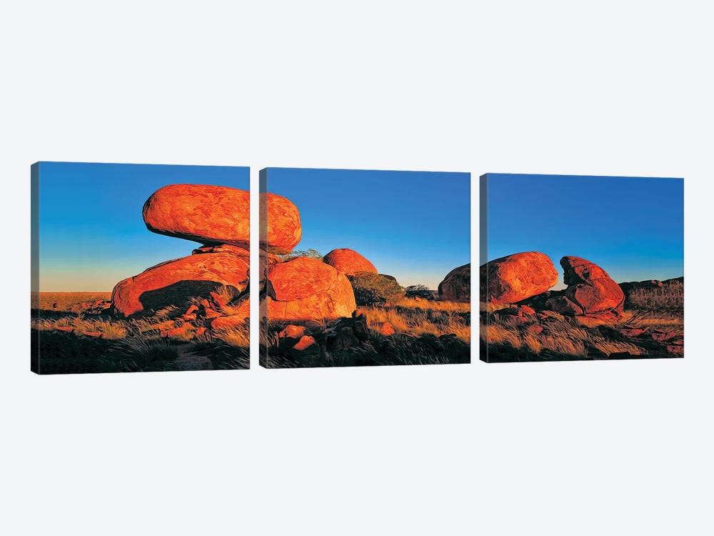 Devils Marbles Panorama by Peter Walton 3-piece Canvas Wall Art