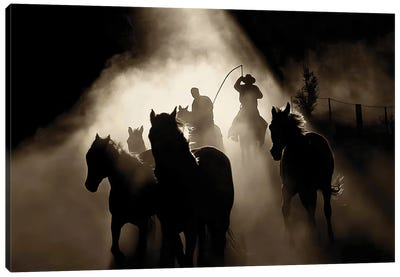 High Country Roundup Sepia Canvas Art Print