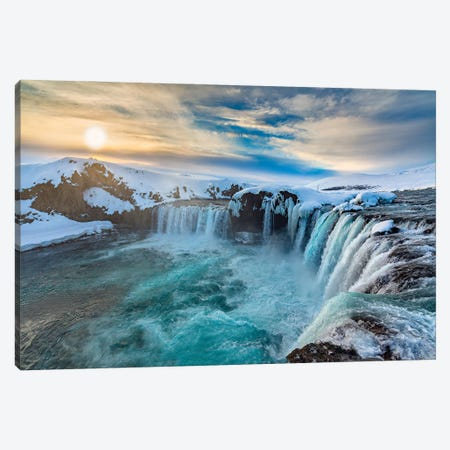 Icelandic Waterfall Canvas Print #PEW42} by Peter Walton Canvas Art