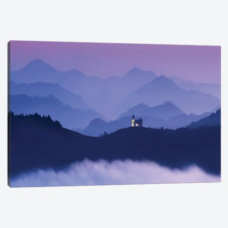 Little Church In The Mountains Canvas Print #PEW45} by Peter Walton Art Print