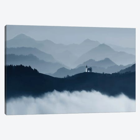 Little Church In The Mountains Mono Canvas Print #PEW46} by Peter Walton Canvas Print