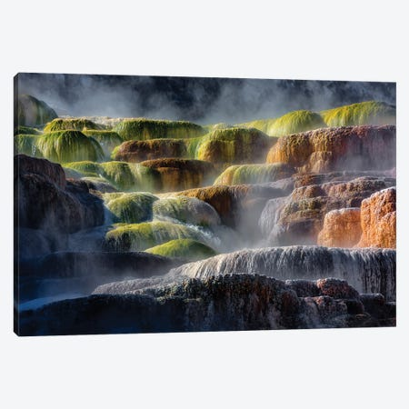 Steaming Yellowstone Rocks Canvas Print #PEW77} by Peter Walton Canvas Wall Art