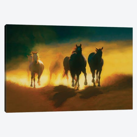 Thundering Hooves Canvas Print #PEW85} by Peter Walton Art Print
