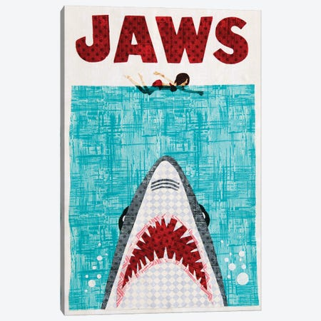 Jaws Canvas Print #PFP32} by Pop Fabric Posters by Ali Scher Canvas Wall Art