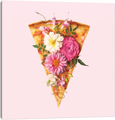 Floral Pizza Canvas Art Print