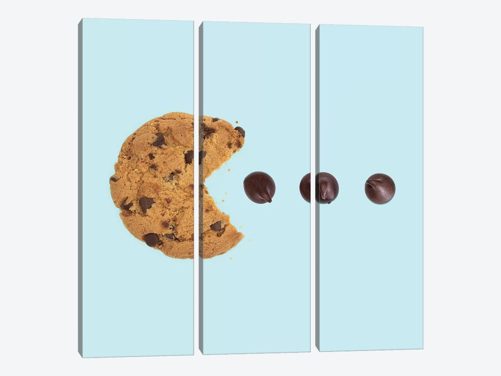 Pacman Cookie by Paul Fuentes 3-piece Canvas Print