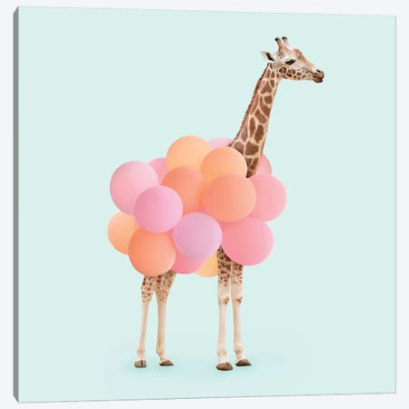 Party Giraffe 3-Piece Canvas #PFU37} by Paul Fuentes Canvas Art