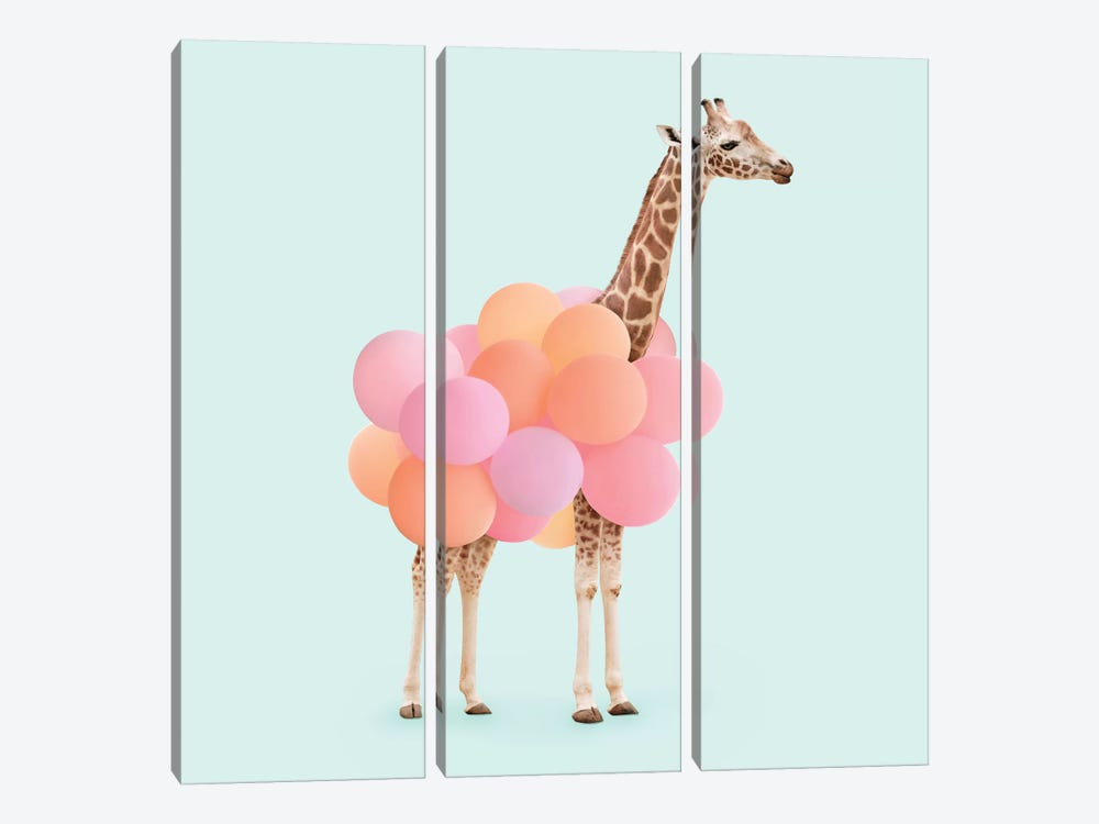 Party Giraffe by Paul Fuentes 3-piece Canvas Art Print