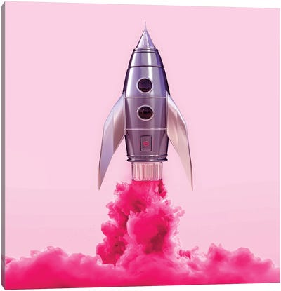 Pink Rocket Canvas Art Print