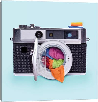 Washing Camera Canvas Art Print