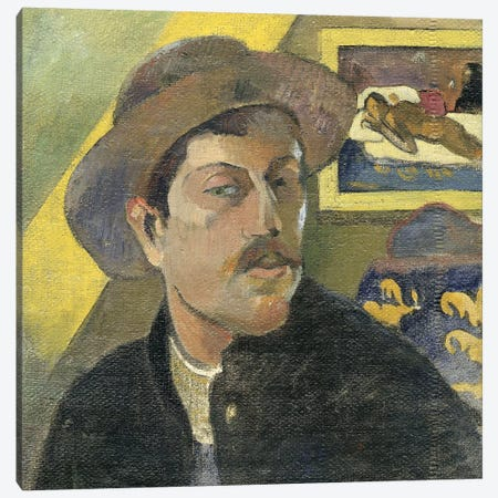 Self Portrait With A Hat Canvas Print #PGG2} by Paul Gauguin Canvas Artwork