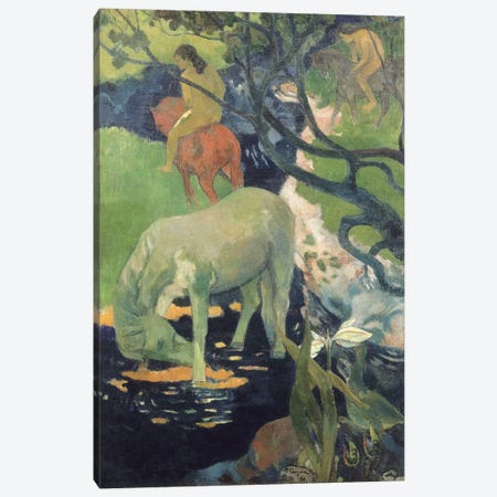 The White Horse Canvas Print #PGG6} by Paul Gauguin Art Print