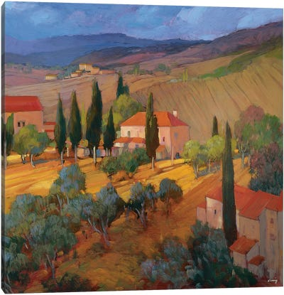 Coral Sunset Tuscany Canvas Art Print
