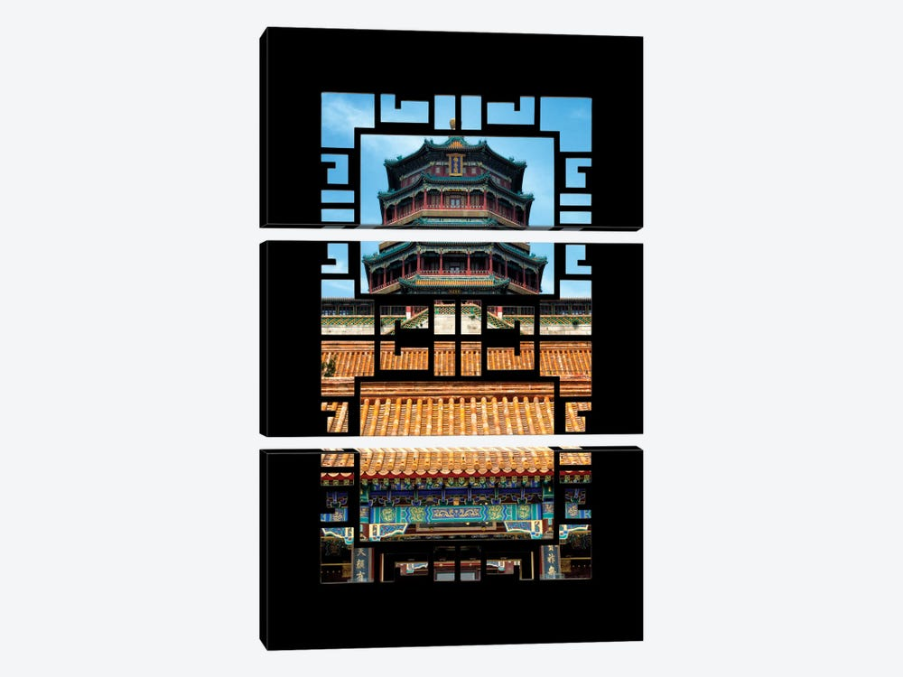China - Window View III by Philippe Hugonnard 3-piece Canvas Wall Art