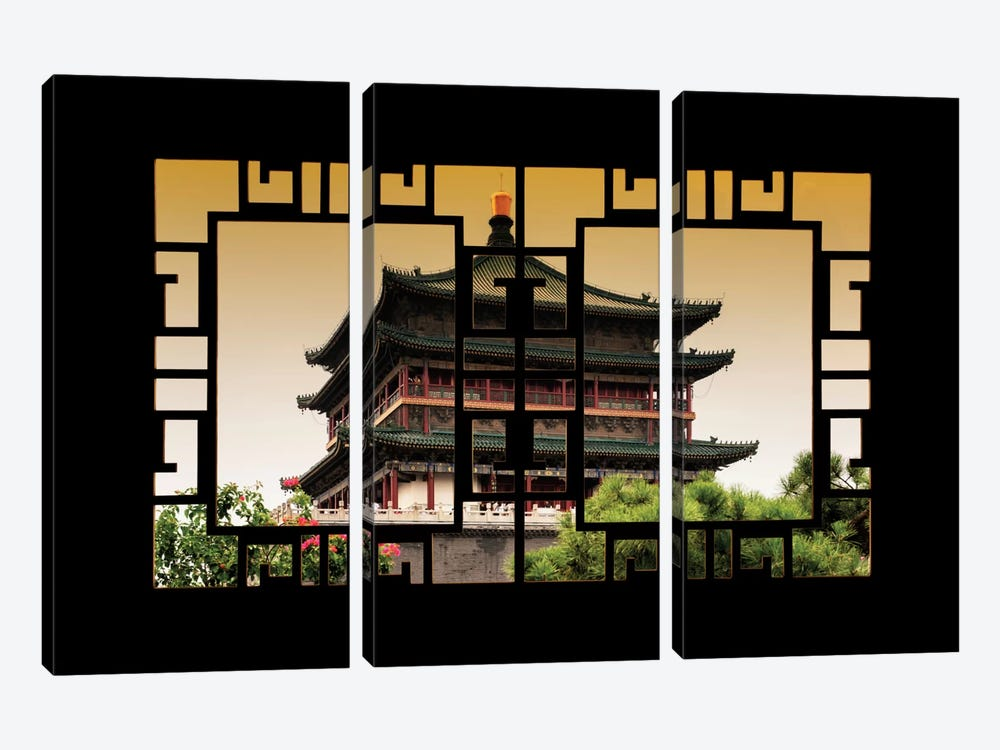 China - Window View IV by Philippe Hugonnard 3-piece Canvas Art Print