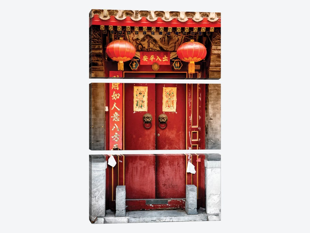 Traditional Red Door by Philippe Hugonnard 3-piece Canvas Art Print