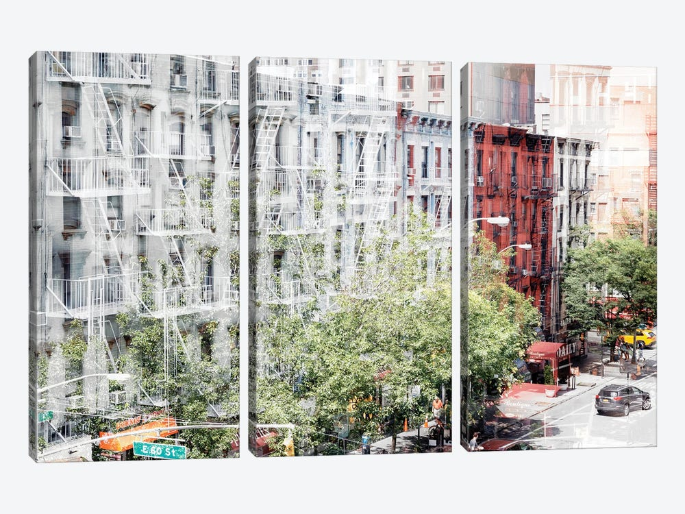 Urban Abstraction - NYC Facades by Philippe Hugonnard 3-piece Canvas Wall Art