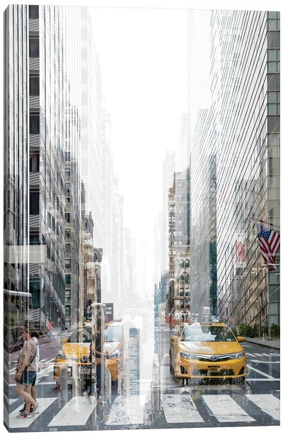 Urban Abstraction - Yellow Cabs Canvas Art Print