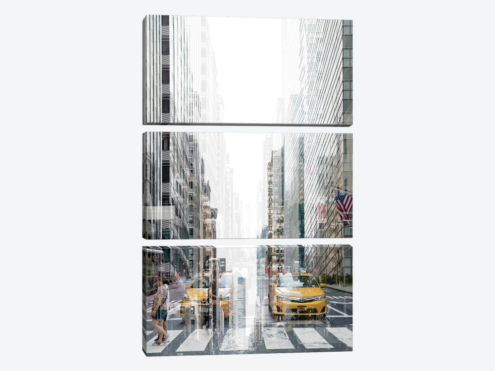 Urban Abstraction - Yellow Cabs by Philippe Hugonnard 3-piece Canvas Wall Art
