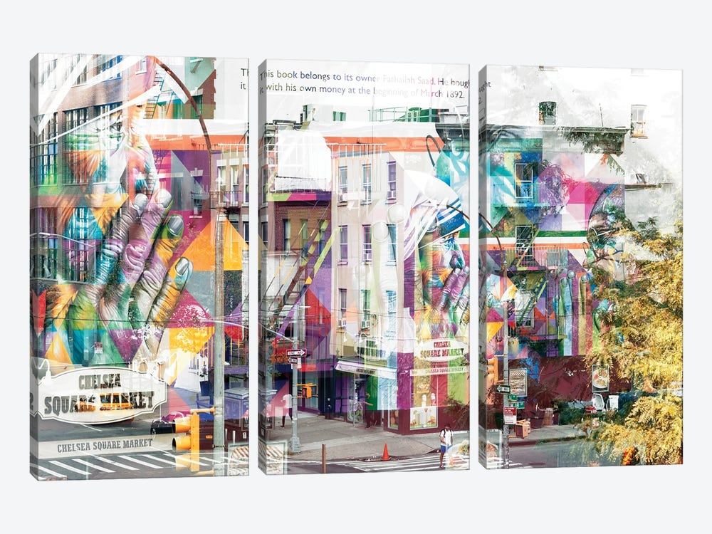 Urban Abstraction - Chelsea Square Market by Philippe Hugonnard 3-piece Canvas Wall Art