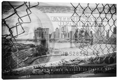 Manhattan Dollars - Between The Fence Canvas Art Print