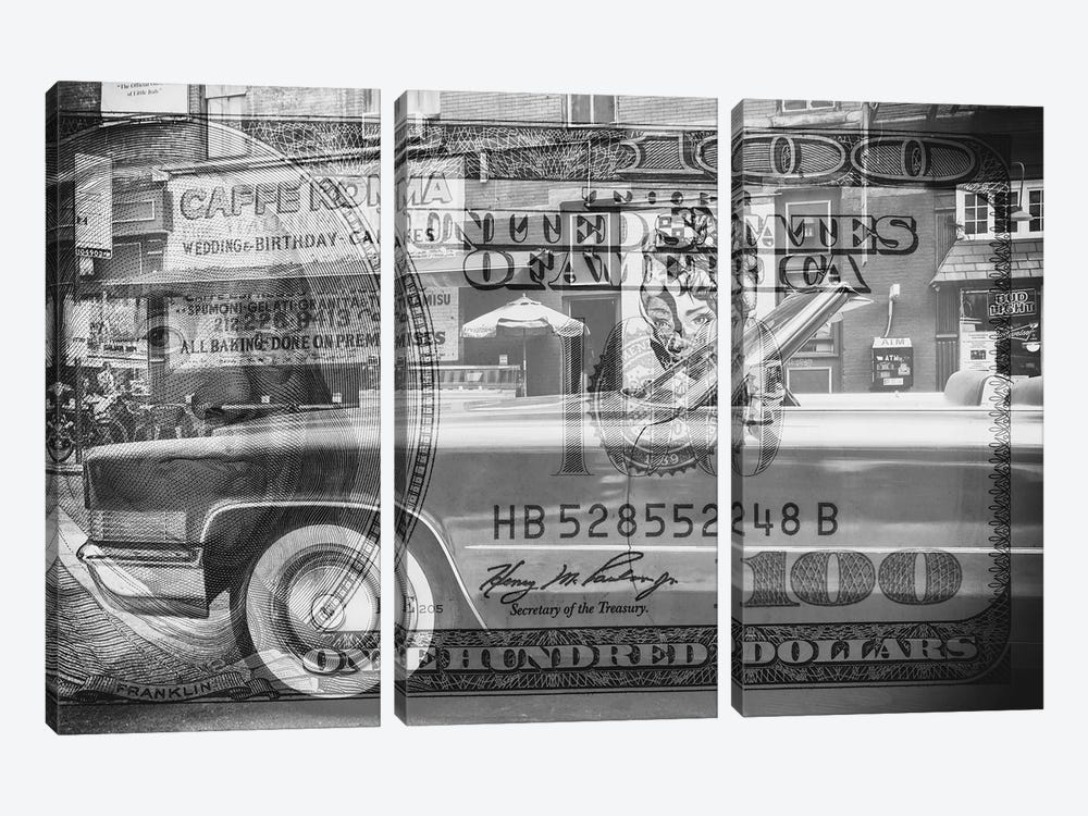 Manhattan Dollars - Cadillac by Philippe Hugonnard 3-piece Canvas Art Print