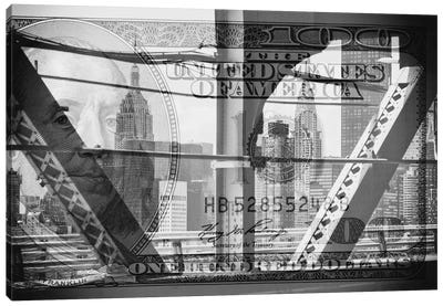 Manhattan Dollars - Between The Steel Canvas Art Print