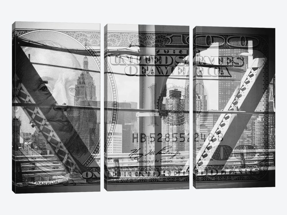 Manhattan Dollars - Between The Steel by Philippe Hugonnard 3-piece Canvas Art Print