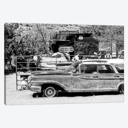 Black Arizona Series - Route 66 Old Car Canvas Print #PHD1471} by Philippe Hugonnard Canvas Wall Art