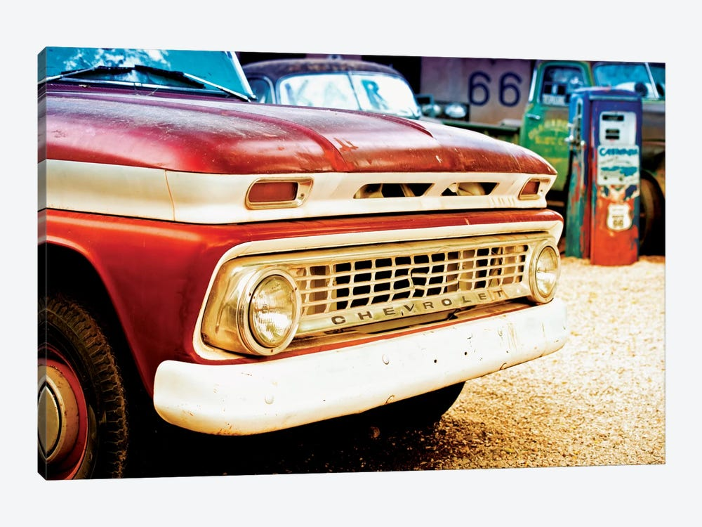 Classic Chevrolet Grill At U.S Route 66 Fill-Up Station by Philippe Hugonnard 1-piece Canvas Art Print