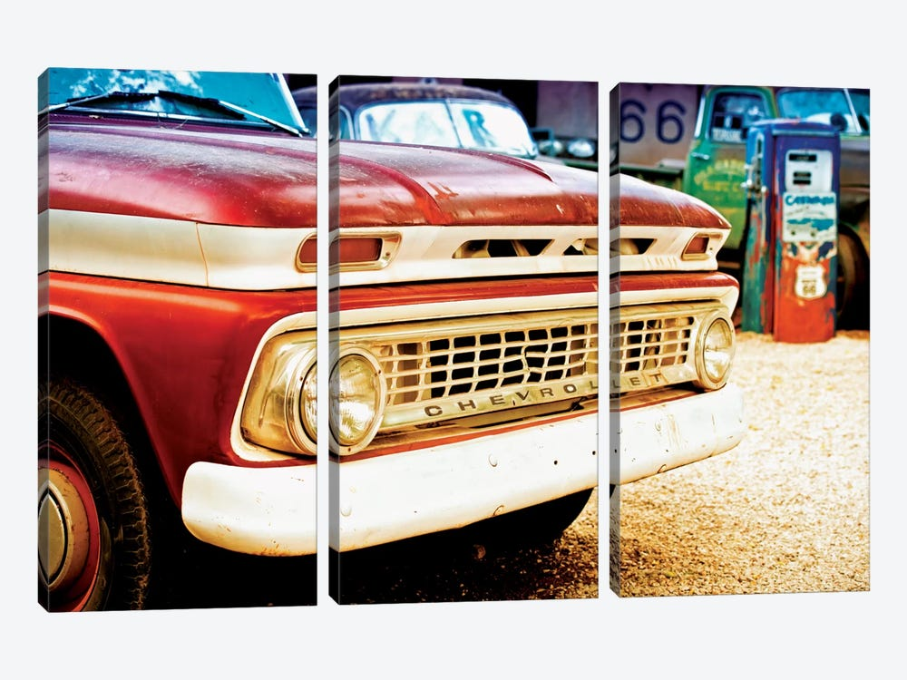 Classic Chevrolet Grill At U.S Route 66 Fill-Up Station by Philippe Hugonnard 3-piece Art Print