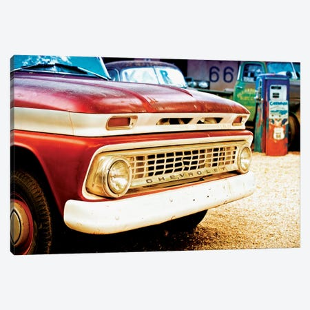 Classic Chevrolet Grill At U.S Route 66 Fill-Up Station 3-Piece Canvas #PHD148} by Philippe Hugonnard Art Print