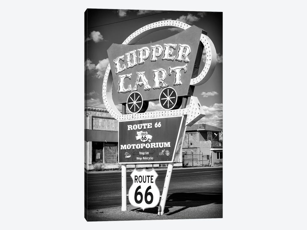 Black Arizona Series - Vintage Sign Route 66 Seligman by Philippe Hugonnard 1-piece Canvas Print