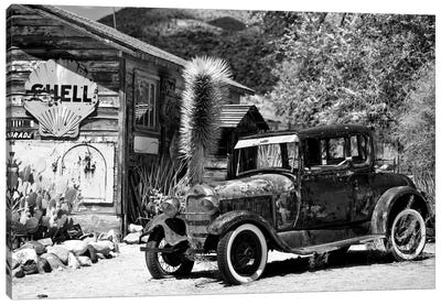 Classic Ford At U.S. Route 66 Fill-Up Station I Canvas Print #PHD150