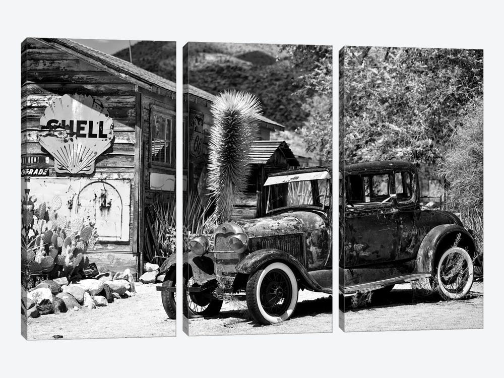 Classic Ford At U.S. Route 66 Fill-Up Station I by Philippe Hugonnard 3-piece Canvas Art