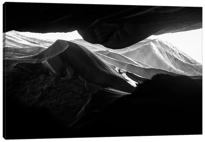 Black Arizona Series - Antelope Canyon Rock Formations Canvas Art Print