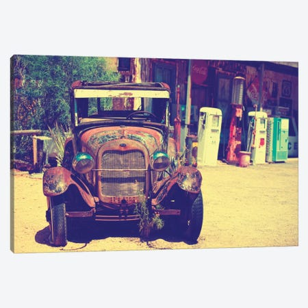 Classic Ford At U.S. Route 66 Fill-Up Station II Canvas Print #PHD151} by Philippe Hugonnard Canvas Art