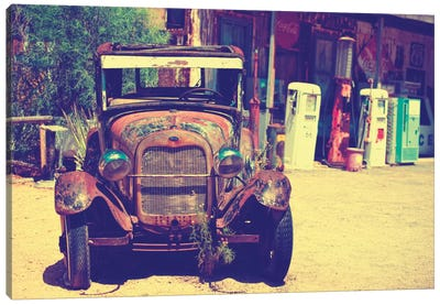 Classic Ford At U.S. Route 66 Fill-Up Station II Canvas Print #PHD151