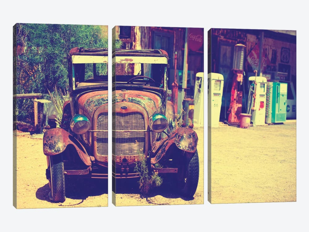 Classic Ford At U.S. Route 66 Fill-Up Station II by Philippe Hugonnard 3-piece Art Print