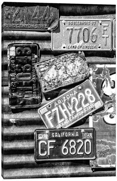 Black Arizona Series - American License Plates Canvas Art Print