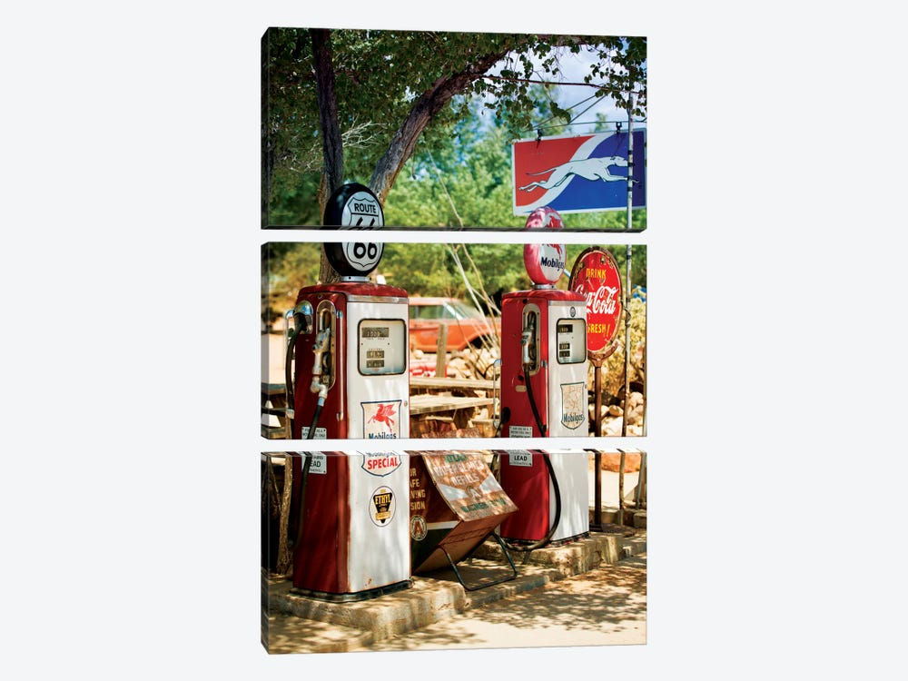 Gas Station Along U.S. Route 66 by Philippe Hugonnard 3-piece Canvas Art Print