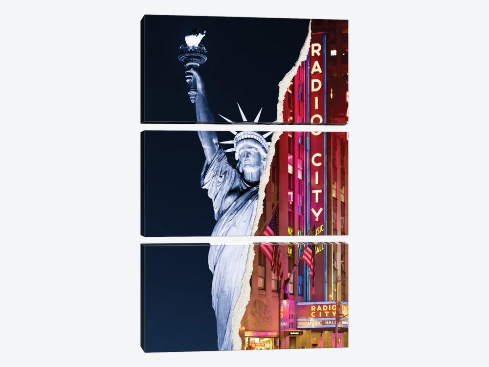 Dual Torn Series - Liberty Night by Philippe Hugonnard 3-piece Canvas Wall Art