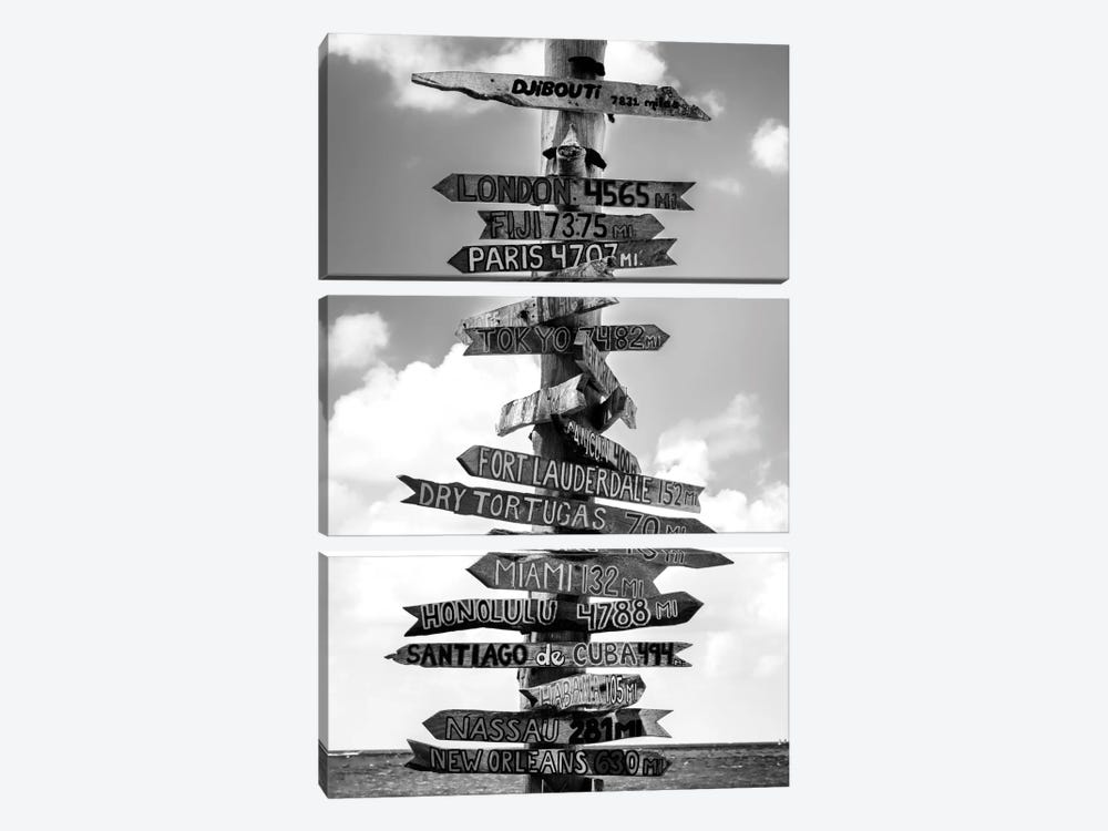 Key West Directional Sign I by Philippe Hugonnard 3-piece Canvas Print
