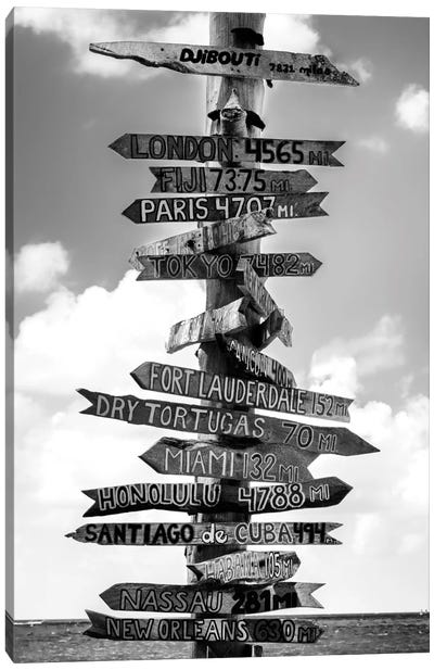 Key West Directional Sign I Canvas Art Print