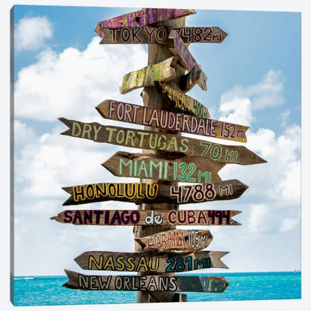 Key West Directional Sign III Canvas Print #PHD162} by Philippe Hugonnard Art Print