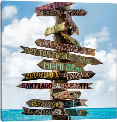Key West Directional Sign III Canvas Art Print